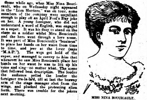 Nina Boucicault's performance was drowned out by an April Fools Day joke