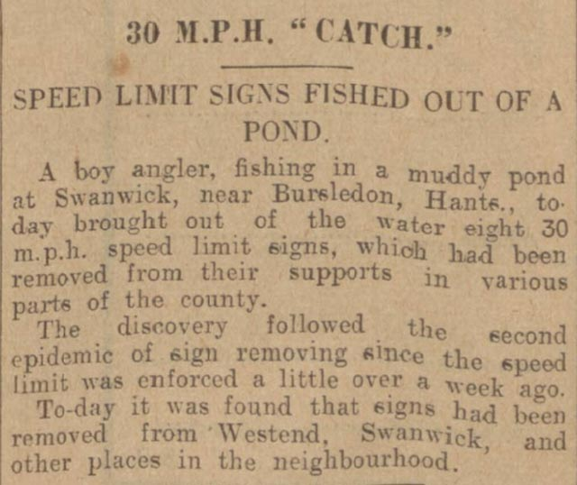 Nottingham Evening Post reports that speed limit signs were found in a pond