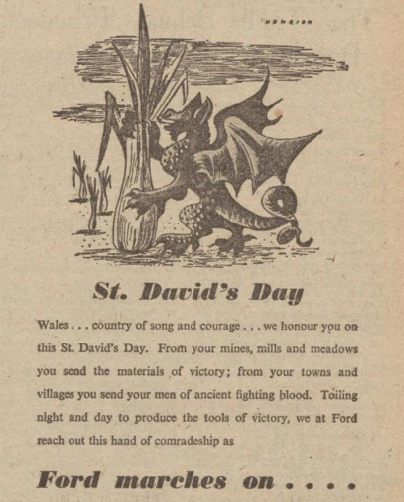 St David's Day advert from 1944