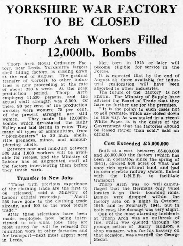 Thorp Arch munitions factory closure reported in the Yorkshire Post and Leeds Intelligencer
