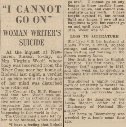 Virginia Woolf's suicide note, printed in the Gloucestershire Echo