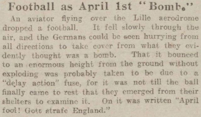 A football is dropped as an April Fools joke during WW1