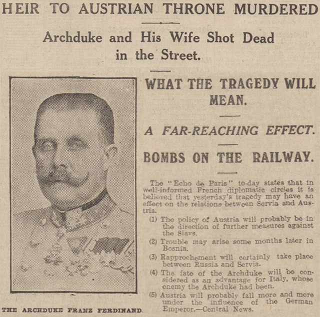 The assassination of Archduke Franz Ferdinand, reported in the Manchester Evening News