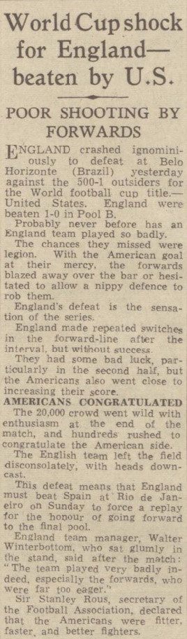 Copies of old newspapers show the England vs United States World Cup score in 1950 was not reported as 10-1