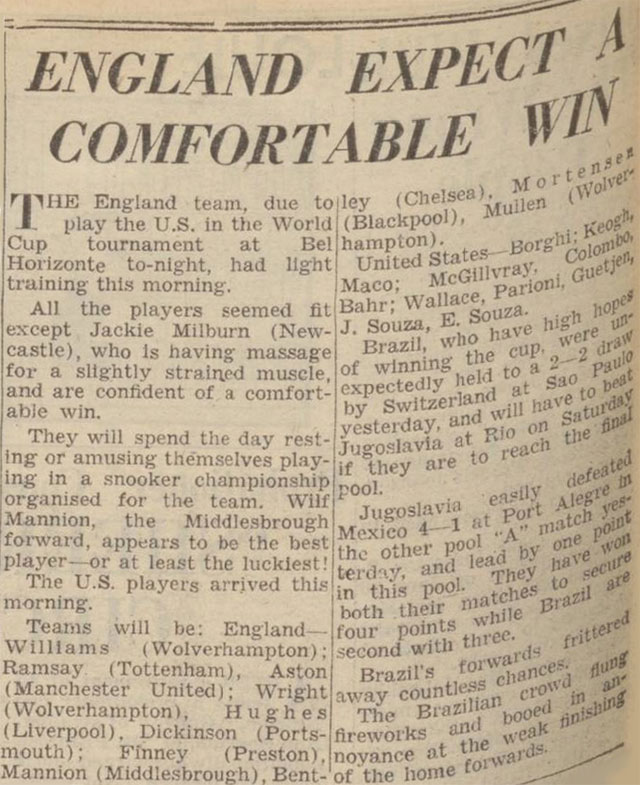England faced the US at the 1950 World Cup