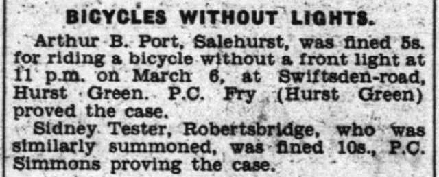 Article about Sidney Tester, who was fined for riding a bicycle without a front light