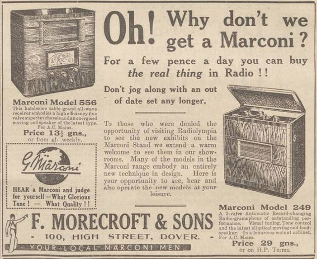 Marconi advert in the Dover Express, 1936