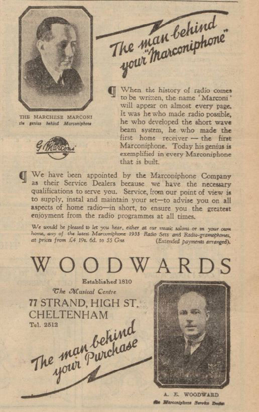 Marconi advert in the Gloucestershire Echo, 1933