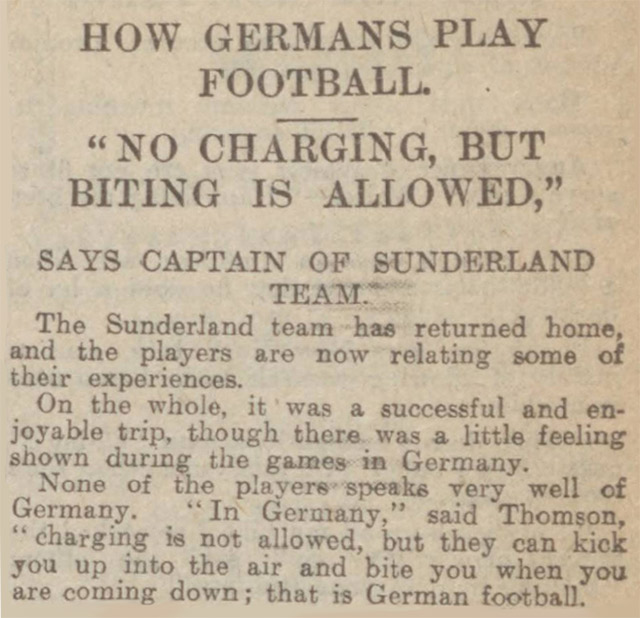 Biting in football - reported in the Dundee Courier in 1913