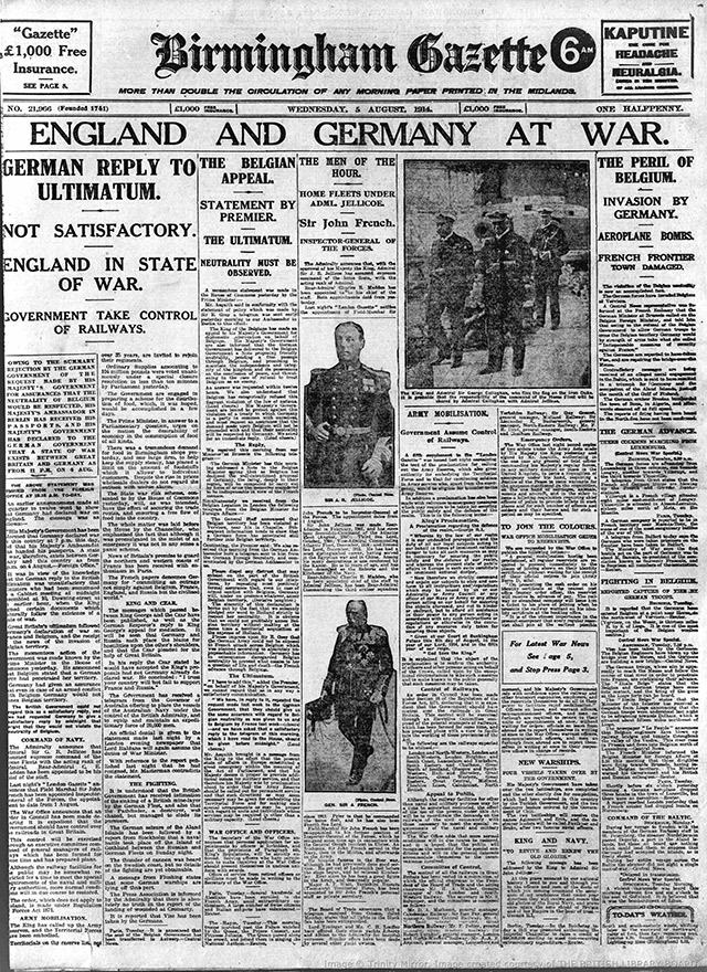 The front page of the Birmingham Gazette, announcing Britain's involvement in World War One