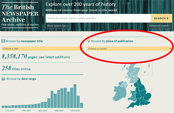 Search by county at The British Newspaper Archive