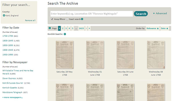 You can search historic newspapers from Kent from this page