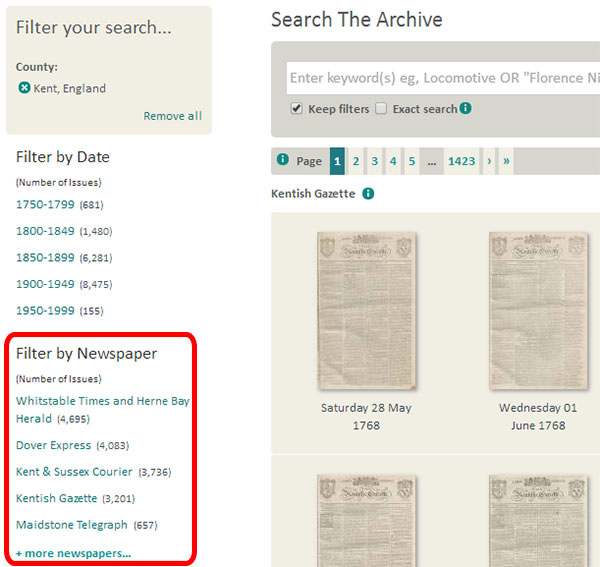 A list of historic newspapers from Kent, available at The British Newspaper Archive