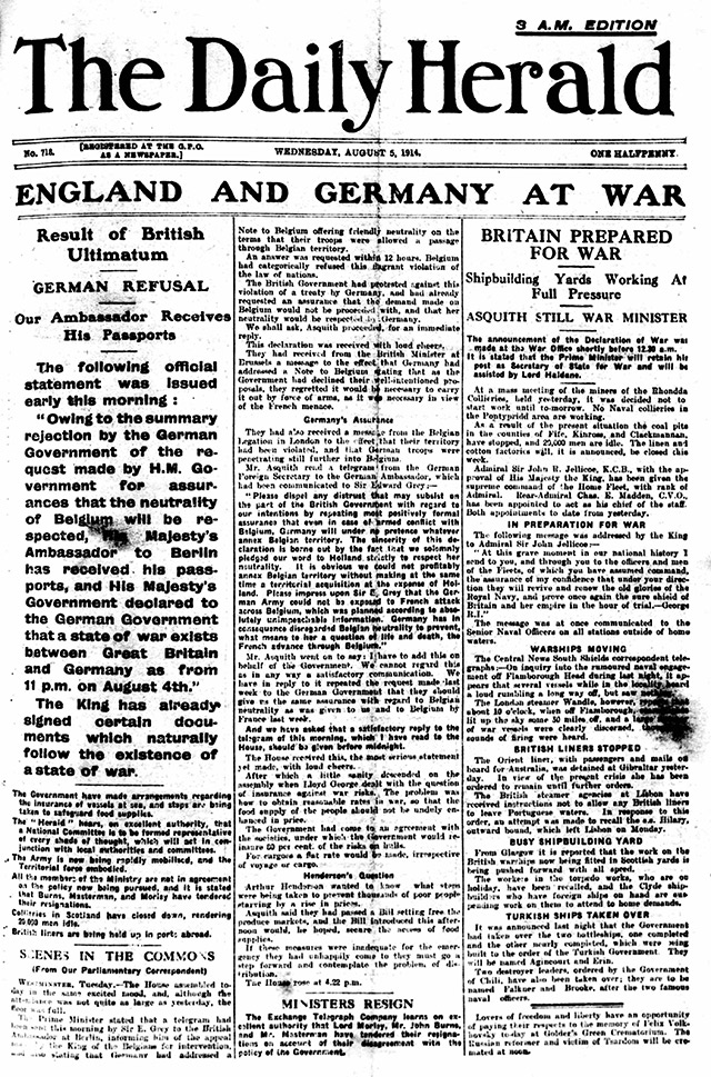 World War One. Write A NewsPaper Article?