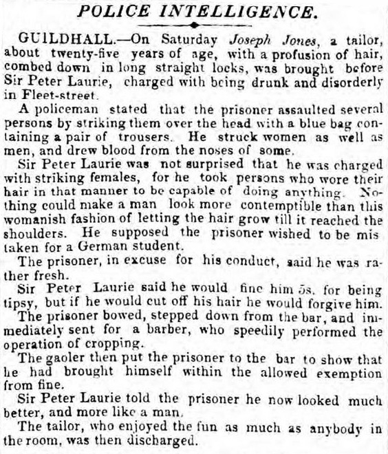 Criminal trial reported in the London Morning Post in 1841