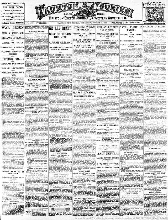 The front page of the Taunton Courier on 5 August 1914