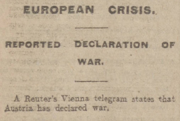 Austria-Hungary's declaration of war, reported in the Manchester Evening News