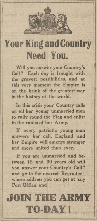 WW1 advert printed in the Manchester Evening News