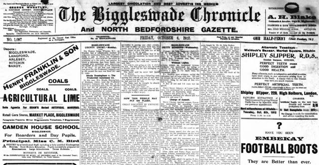The Biggleswade Chronicle's newspaper archives are being added to The British Newspaper Archive
