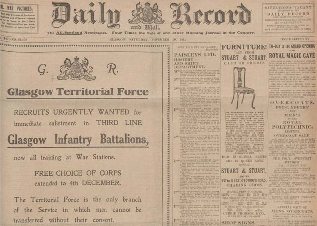 Newspaper archives for Scotland's Daily Record are available at The British Newspaper Archive