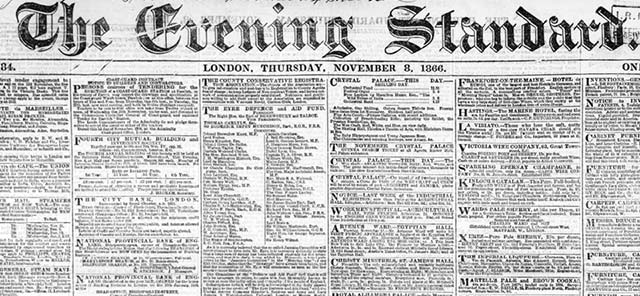 Search the London Evening Standard's newspaper archives