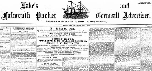 Search Lake's Falmouth Packet and Cornwall Advertiser at The British Newspaper Archive
