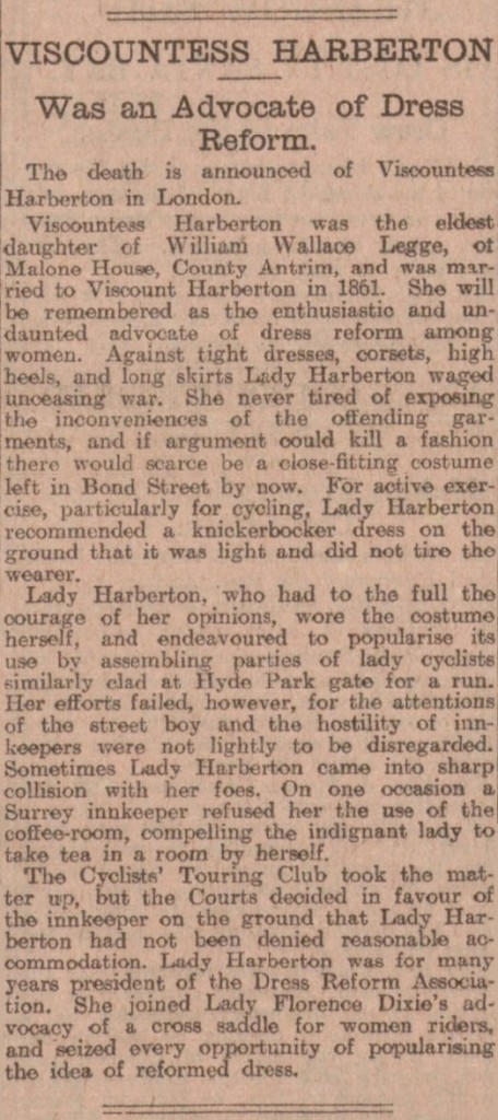 Lady Florence Harberton's obituary in the Evening Telegraph