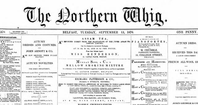 The Northern Whig's newspaper archives are being added to The British Newspaper Archive