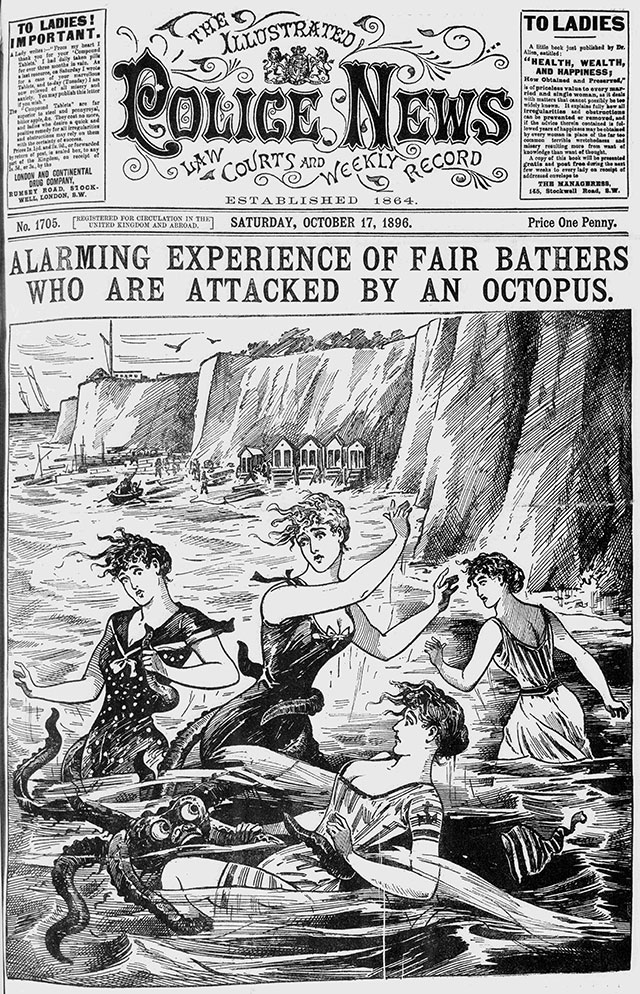 Octopus attack depicted in the Illustrated Police News