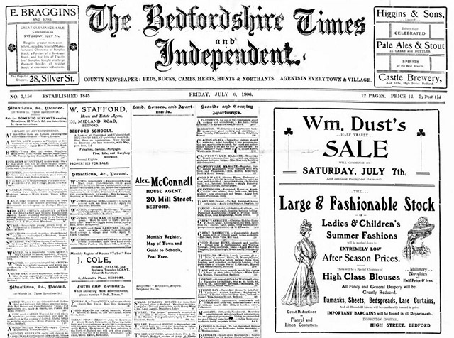 Search the newspaper archive of the Bedfordshire Times