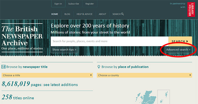 Find The British Newspaper Archive's advanced search from the homepage
