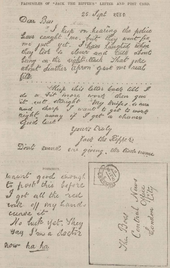 A facsimile of the 'Dear Boss' Jack the Ripper letter, printed in the Nottingham Evening Post