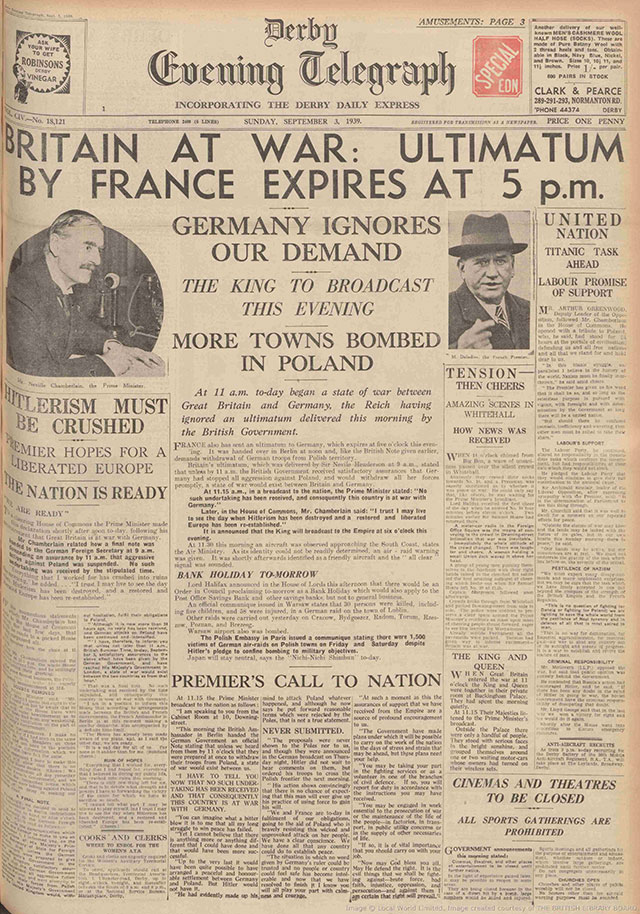 The Derby Daily Telegraph announces the start of WW2