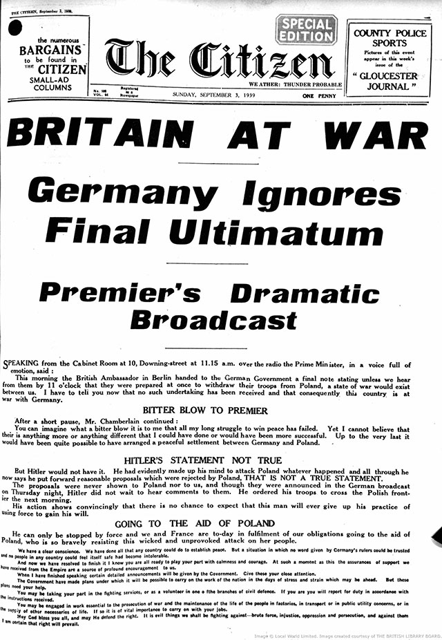 Historic headlines: Great Britain joins World War Two on 3 ...