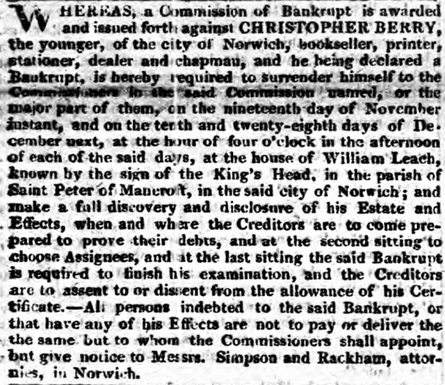 Christopher Berry, Mary Berry's ancestor was declared bankrupt in the Norwich Chronicle.