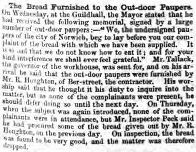 Robert Houghton, Mary Berry's ancestor, was accused of baking substandard bread in the Norfolk News.