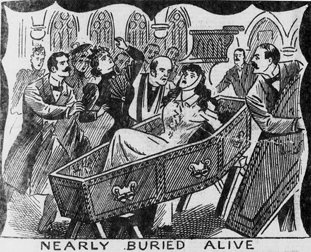 A woman was almost buried alive according to the Illustrated Police News