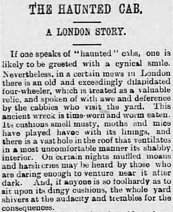 A tale of a haunted London taxi cab, printed in the Shields Daily Gazette