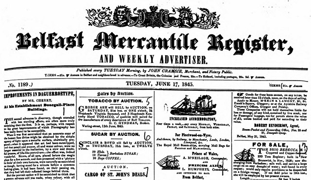The Belfast Mercantile Register's archives are online at The British Newspaper Archive