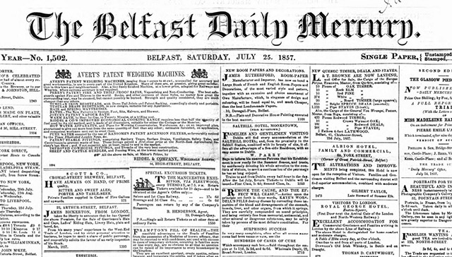 Belfast Mercury archives are available online at The British Newspaper Archive