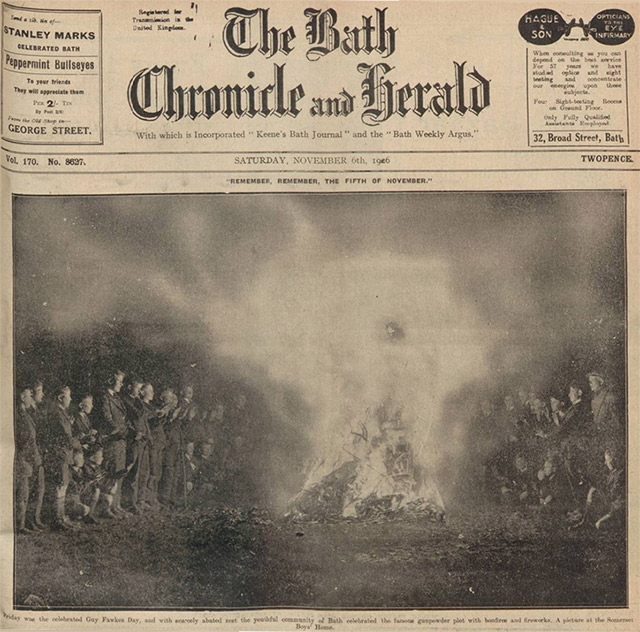 Celebrating the gunpowder plot with a bonfire in Somerset in 1926