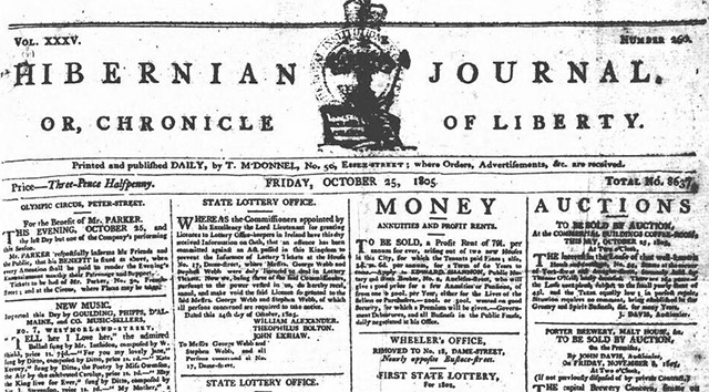 The Hibernian Journal's newspaper archives are now online