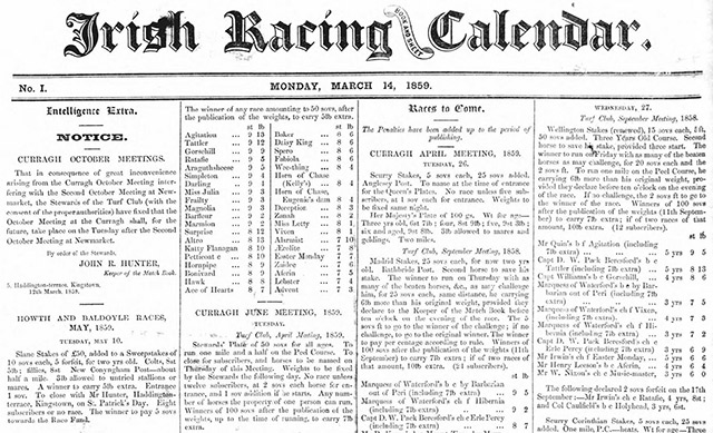 Search the archives of the Irish Racing Calendar
