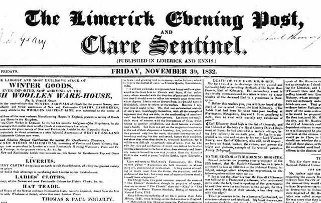 Seach the online archives of the Limerick Evening Post