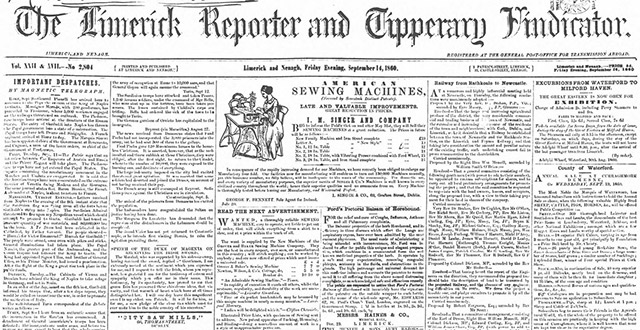 The Limerick Reporter's newspaper archives are now online