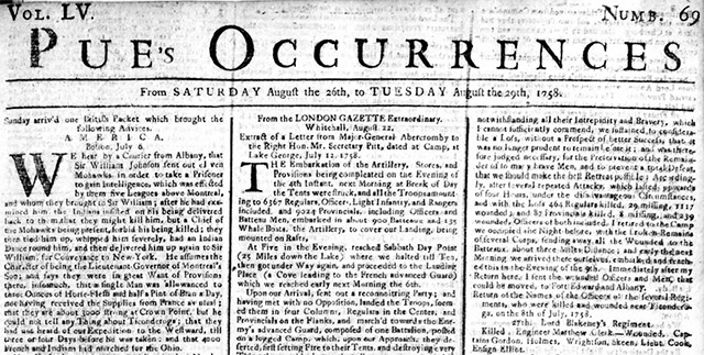 Search historical copies of the newspaper, Pue's Occurences