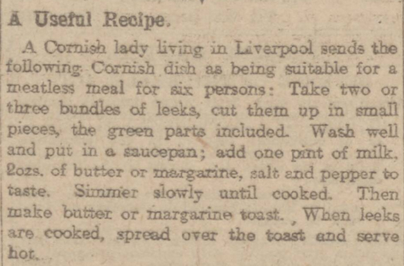 A World War One recipe for a 'Meatless Meal'
