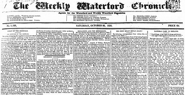 The Waterford Chronicle's newspaper archives are online at The British Newspaper Archive