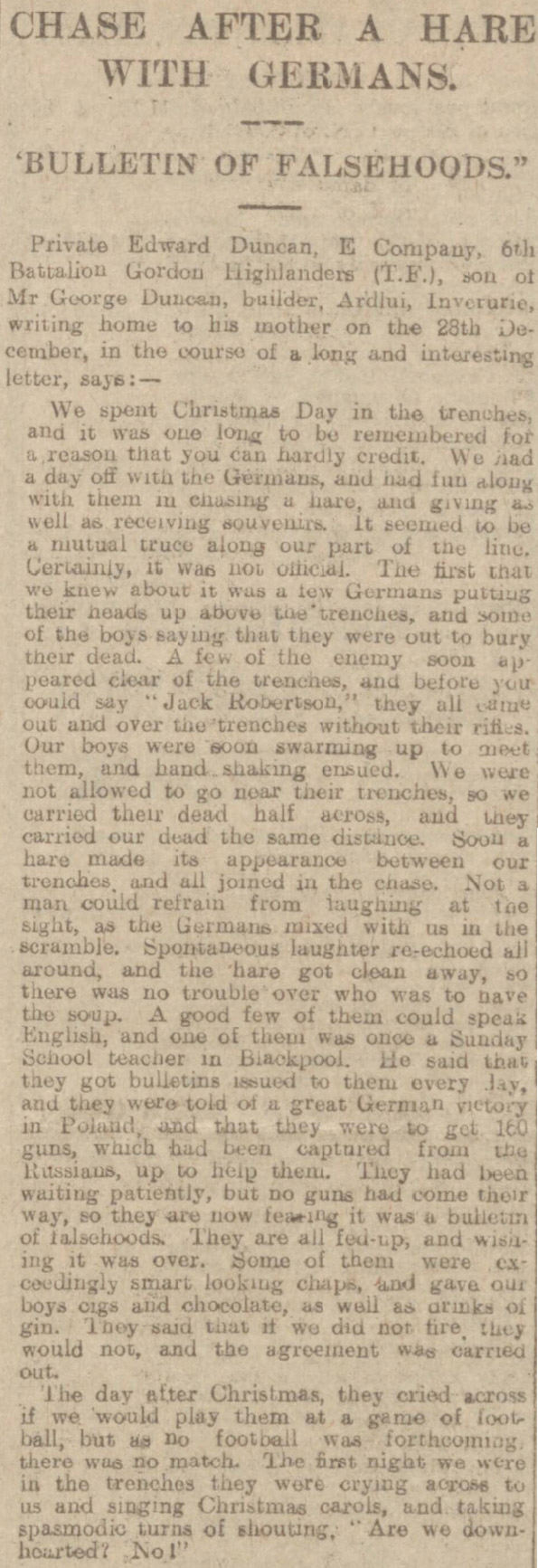 This report about World War One's Christmas Day Truce was published in the Aberdeen Journal.
