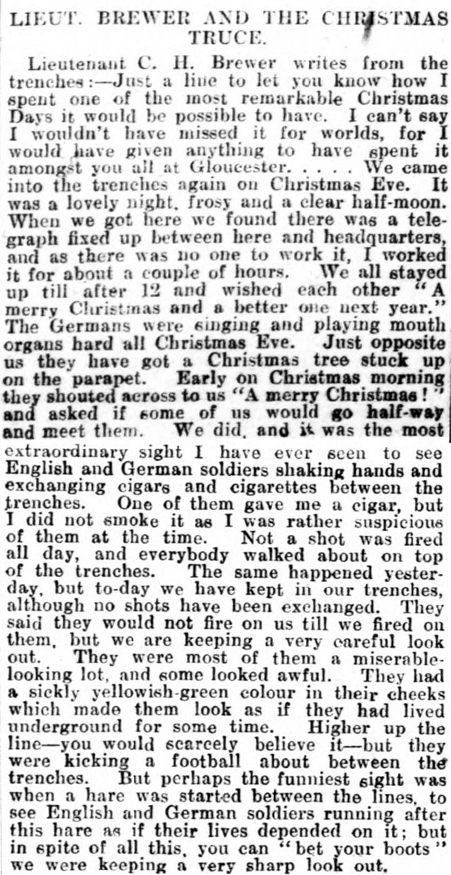 A soldier's letter from the Western Front, describing the 1914 Christmas Truce, was printed in the Gloucester Journal